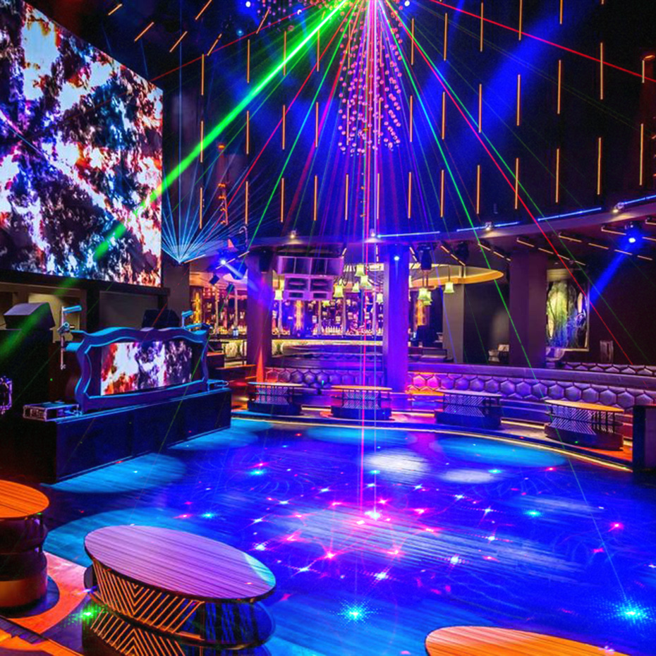 Alienígena nuevos 96 patrones RGB Mini luz láser proyector fiesta de discoteca DJ música láser etapa efecto de iluminación con LED azul luces de Navidad - 6
