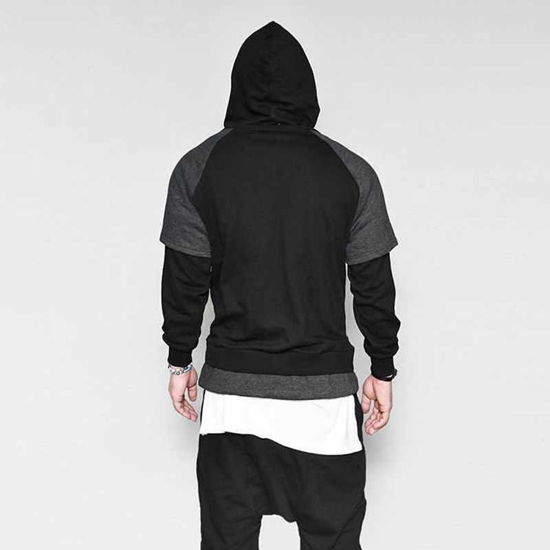 Moomphya False two hoodie для мужчин Уличная срощенная кофта с капюшоном хип хоп толстовки с капюшоном Mid карман одежда 2018