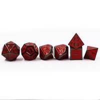 Dungeons & Dragons 7pcs/set Creative RPG Dice D&D Metal Dice Enamel Black and Red Digital DND Game Dice