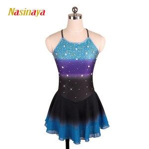 Image 1 - Nasinaya robe de patinage artistique concours personnalisé jupe de patinage sur glace pour fille femmes enfants Patinaje gymnastique Performance 208