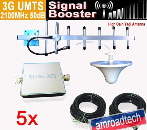 5 Sets 3G UMTS 2100MHz Mobile Phone Cell Signal Amplifier Booster 50dB w Outdoor Yagi Antenna+Indoor Omni Antenna+50ft Cable