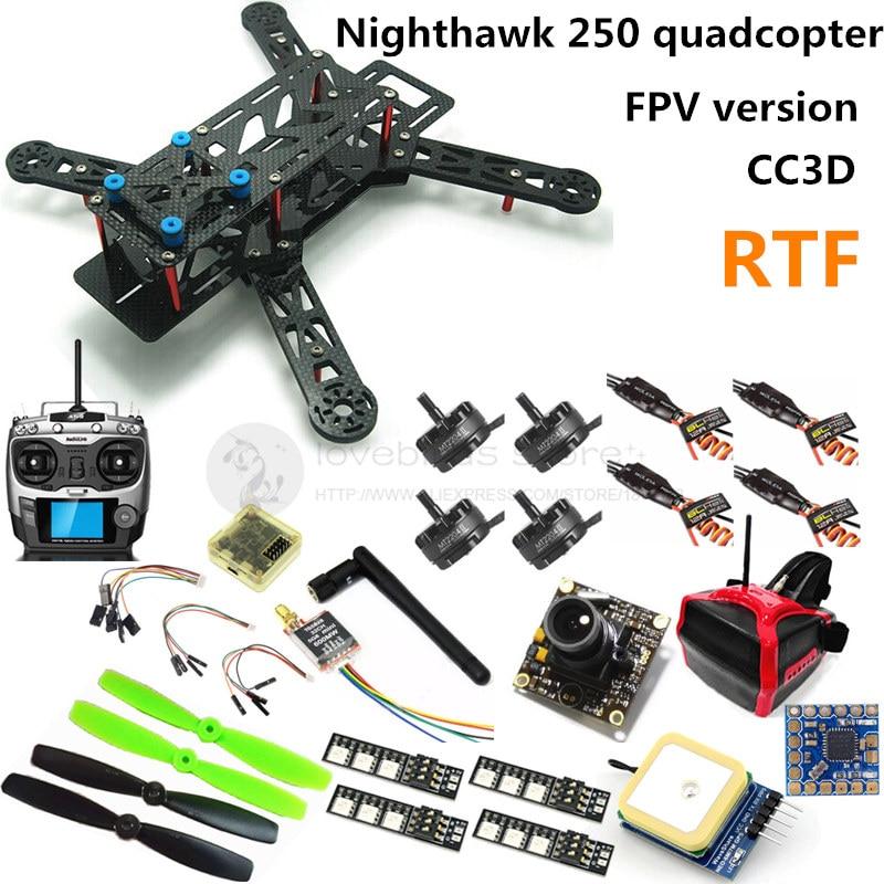FPV Nighthawk 250 quadcopter mini drone CC3D + 2204II 2300KV motor + AT9 remote control + 700TVL camera + 6m GPS + OSD RTF