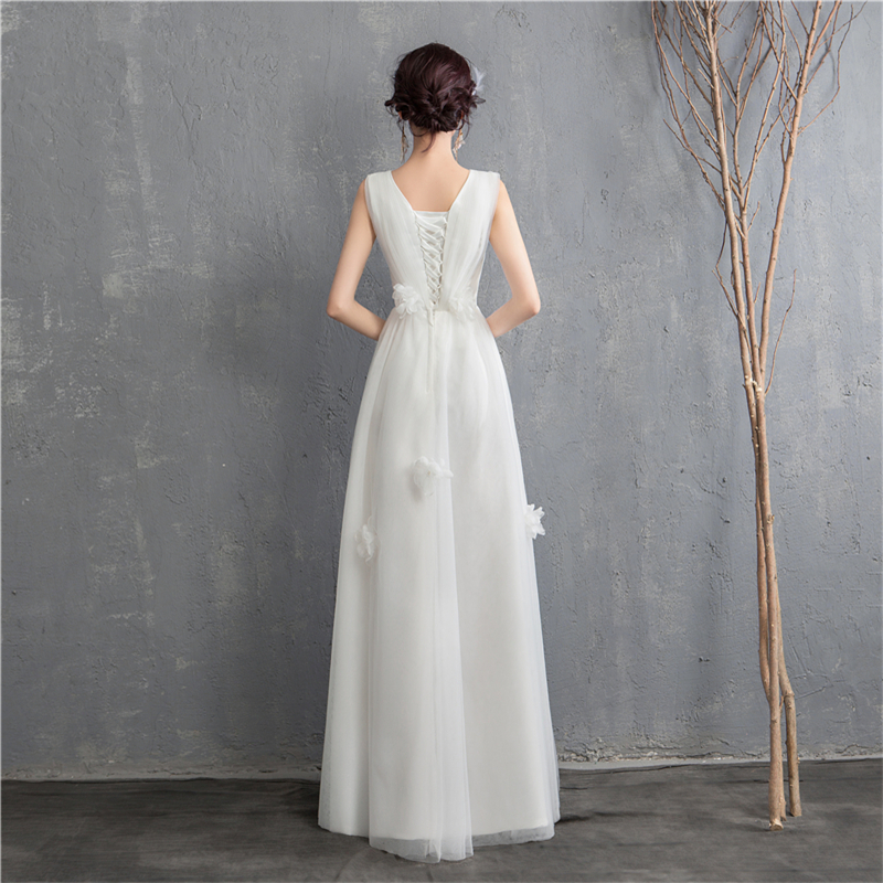 Image 2 - New Arrival Illusion korean style Tulle A Line Wedding Dress 2020  Double shoulder V neck Lace Bridal Dress Marriage Floor LengthWedding  Dresses