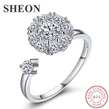 SHEON Rotatable Ring 925 sterling silver Open Adjustable Rings Turnable Zircon Elegant Finger Rings For Women Wedding Jewellry heart cut out turnable ring
