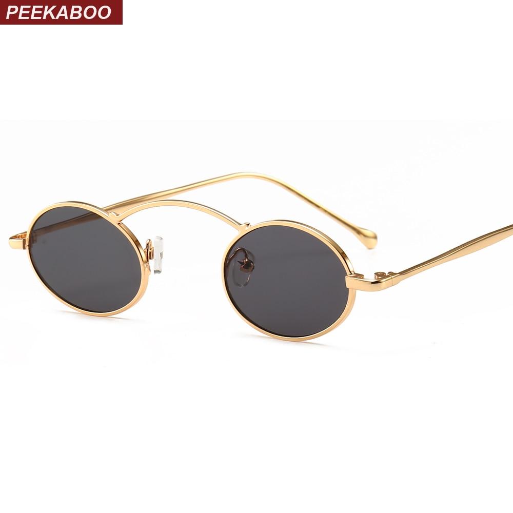 Peekaboo tiny sunglasses women small size metal frame gold black red yellow vintage round sun glasses for men uv400