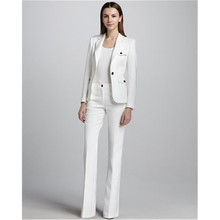 f1471dd24b White single buckle women's business overalls female office uniform wedding  evening dress ladies formal pants suit