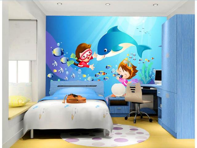 3d papier peint personnalis photo non tiss murale mur autocollant 3 d enfants plong e dauphins. Black Bedroom Furniture Sets. Home Design Ideas