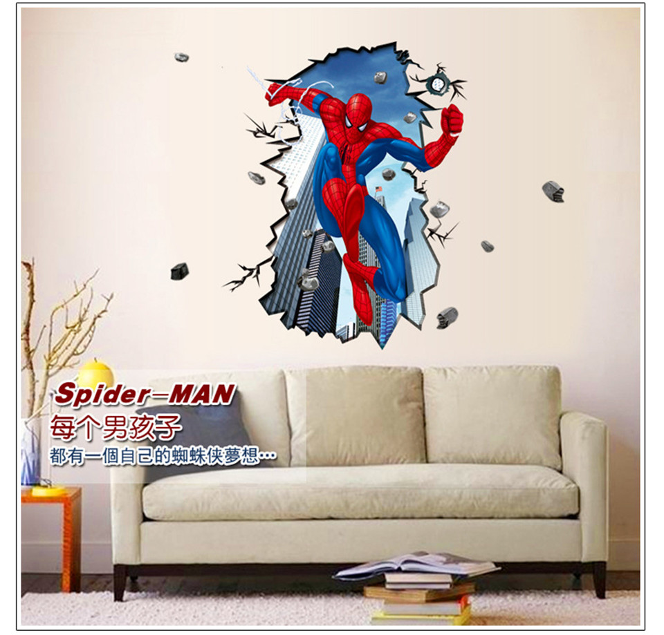 Large Size Spider Man Through Wall Posters Peter Parker 3d Stickers For Kids Bedroom Boys Hero Idol Mural Cool Home Decor Decal Stickers For 3d Stickerstickers For Kids Aliexpress
