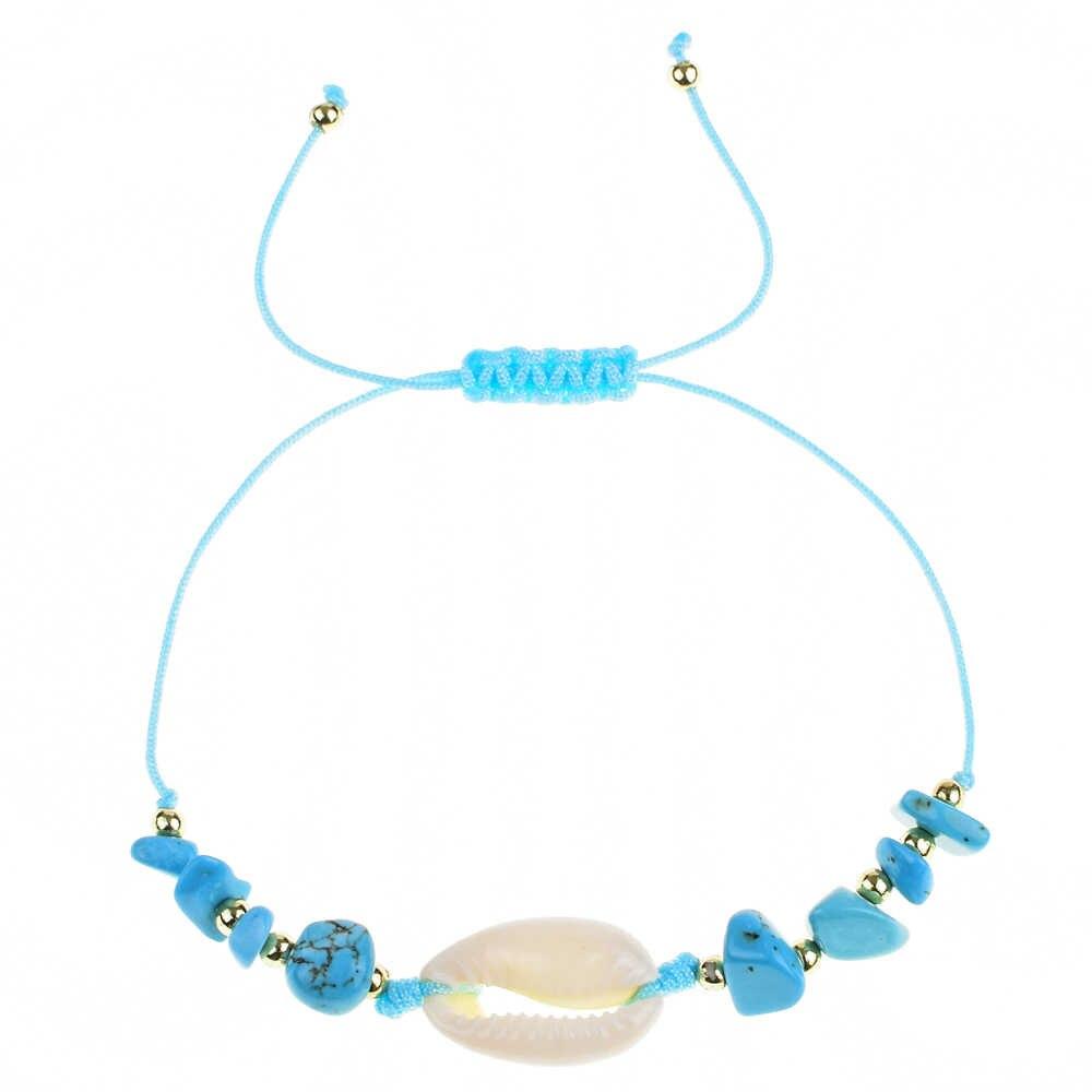 Модный Природный камень синего цвета в виде ракушки очаровательные женские браслеты мужские ручной работы Регулируемые плетеные браслеты браслет украшение браслет