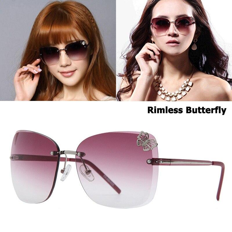 Jackjad Rimless Sunglasses Oculos-De-Sol Butterfly-Decoration Gradient Women Vintage