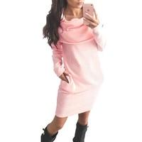 Autumn Winter Warm Dress Knitted Knee Length Dresses Women Sweatshirt Bodycon Dress Ukraine Robes Tshirt Vestidos