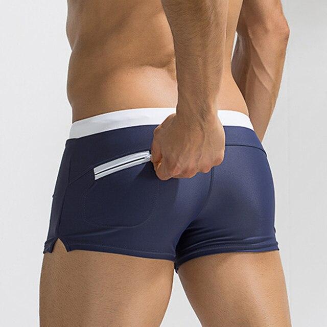 3926724362 Useful Pocket Swimwears Men Sexy Swimming Trunks Hot Swimsuit Smens Swim  Briefs Beach Shorts Mayo 2018 New Surf Beach Suits