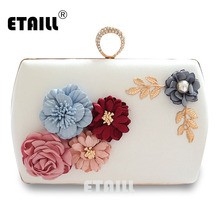 ETAILL Luxury Handmade Pearl Flower Evening Bag Women Fashion Clutch Bags Weeding Party Bridal Small Shoulder Bag with Chain цены