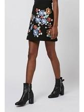 Women vintage totem floral embroidery skirt sweet mini A line skirts female European fashion casual office wear faldas C16105