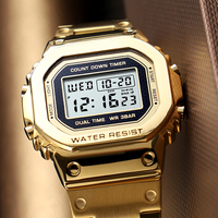 Waterproof Chronograph Countdown Sport Watches Men Luxury Casual Stainless Steel Digital Watch Top Brand Men's Watch Reloj Mujer