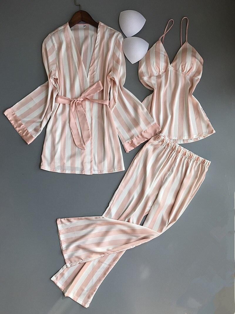 QWEEK Satin Women Sleepwear with Chest Pads Fashion Stripe Pijama Female Silk Women   Pajama     Sets   Women Pyjamas Casual Homewear