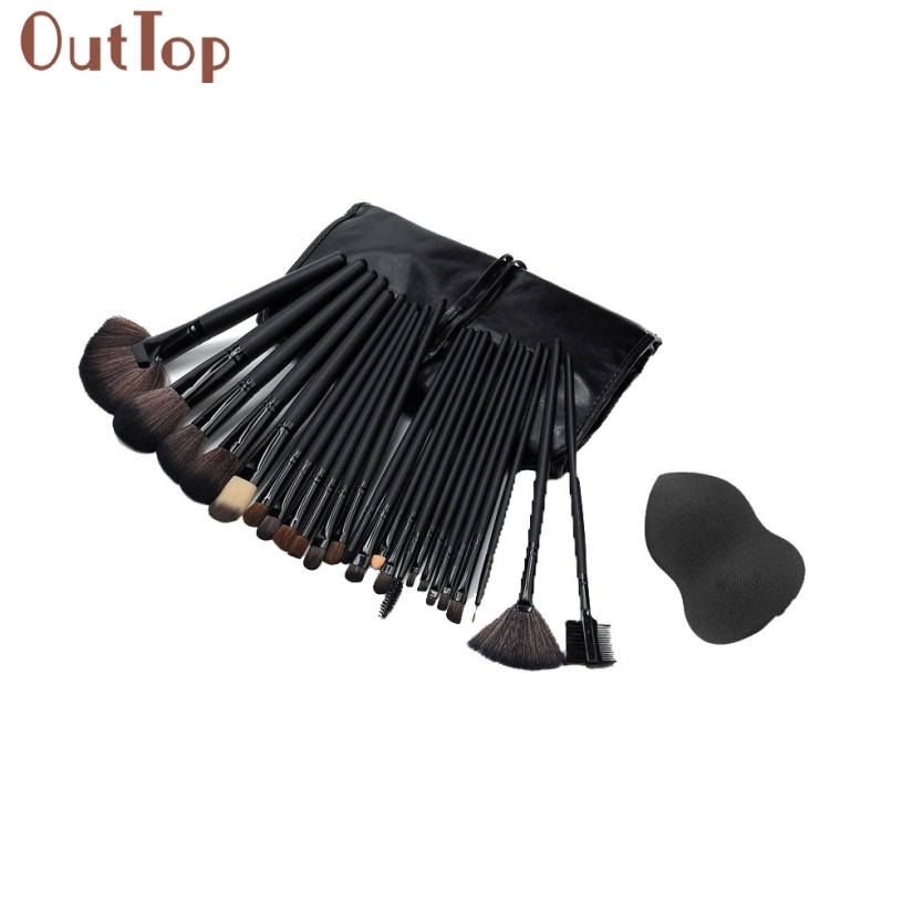 Pretty OutTop Good Quality Black Colour Sponge Puff + 24 PCS Cosmetic makeup brushes Comestic Foundation Brushes Tools 1 Set outtop pretty new good quality pink colour sponge puff 24 pcs cosmetic makeup brushes foundation brushes tool 1 set