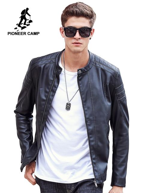 a755364e542 Пионерский лагерь 2018 Новая мода осень зима мужская кожаная куртка  брендовая одежда мотоциклетная куртка Качественная мужская
