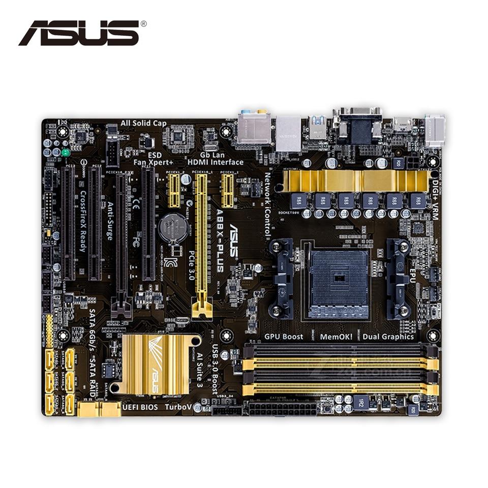 Asus A88X-PLUS Original Used Desktop Motherboard A88X  Socket FM2 DDR3 32G SATA3 USB3.0 ATX материнская плата пк asus a88x plus usb 3 1 a88x plus usb 3 1