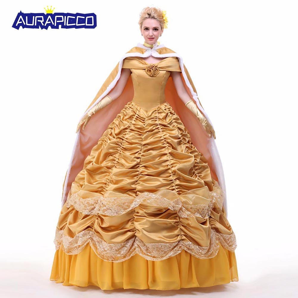 Beauty and the Beast Princess Belle Cosplay Costume Fairy Tales Princess Dress Fancy Dress Party Ball Gown Halloween Costumes