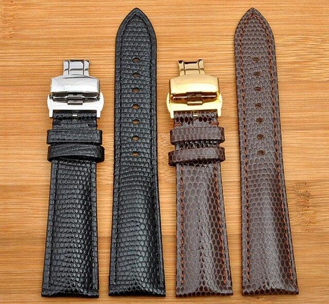 18mm 20mm 22mm 24 mmNew Hoge kwaliteit Zwart Echt Lizard Patroon Lederen Horlogebanden Strap Met Zilveren vlinder horloge Gesp