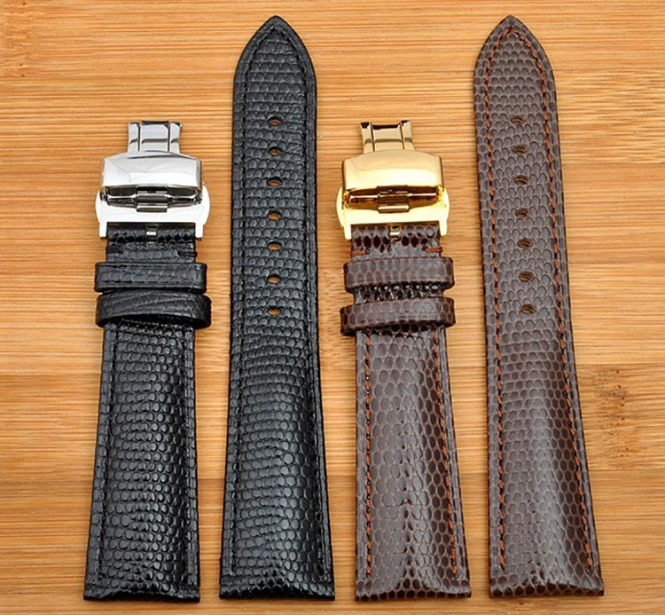 18mm 20mm 22mm 24mmNew High quality Black Genuine Lizard Pattern Leather Watchbands Strap With Silver butterfly Watch Buckle lizard сандали hip m leather 45 black