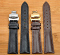 18mm 20mm 22mm 24mmNew High quality Black Genuine Lizard Pattern Leather Watchbands Strap With Silver butterfly Watch Buckle