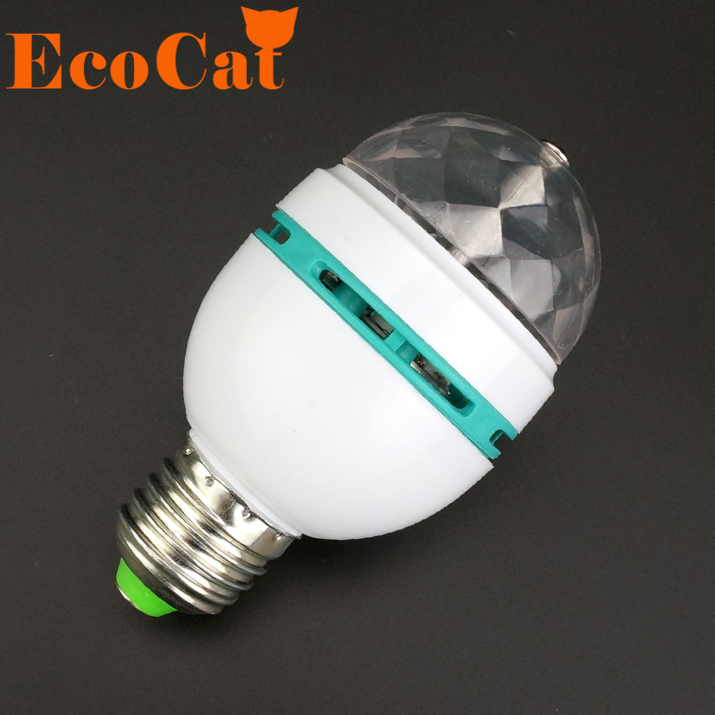 ECO CAT E27 3W 110v-220v Colorful Auto Rotating RGB projector Crystal led Stage Light Magic Ball DJ party disco effect Bulb Lamp футболка wearcraft premium slim fit printio lada седан 2 by design ministry