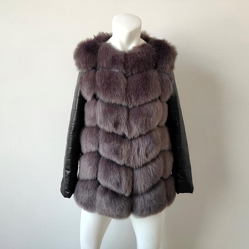 UPPIN шуба Новые Большие размеры меховое пальто с рукавами из искусственной кожи женская зимняя куртка из искусственного меха лисы Женская Осенняя модная теплая верхняя одежда пальто шуба из искусственного меха шубы - Цвет: Темно-серый