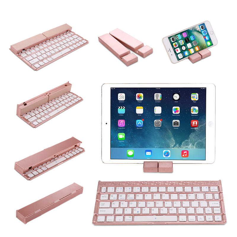 Portable Folding Bluetooth Keyboard for IOS Android Windows for iPad / Mobile Phone / Tablet PC Universal Foldable Keypad StandPortable Folding Bluetooth Keyboard for IOS Android Windows for iPad / Mobile Phone / Tablet PC Universal Foldable Keypad Stand