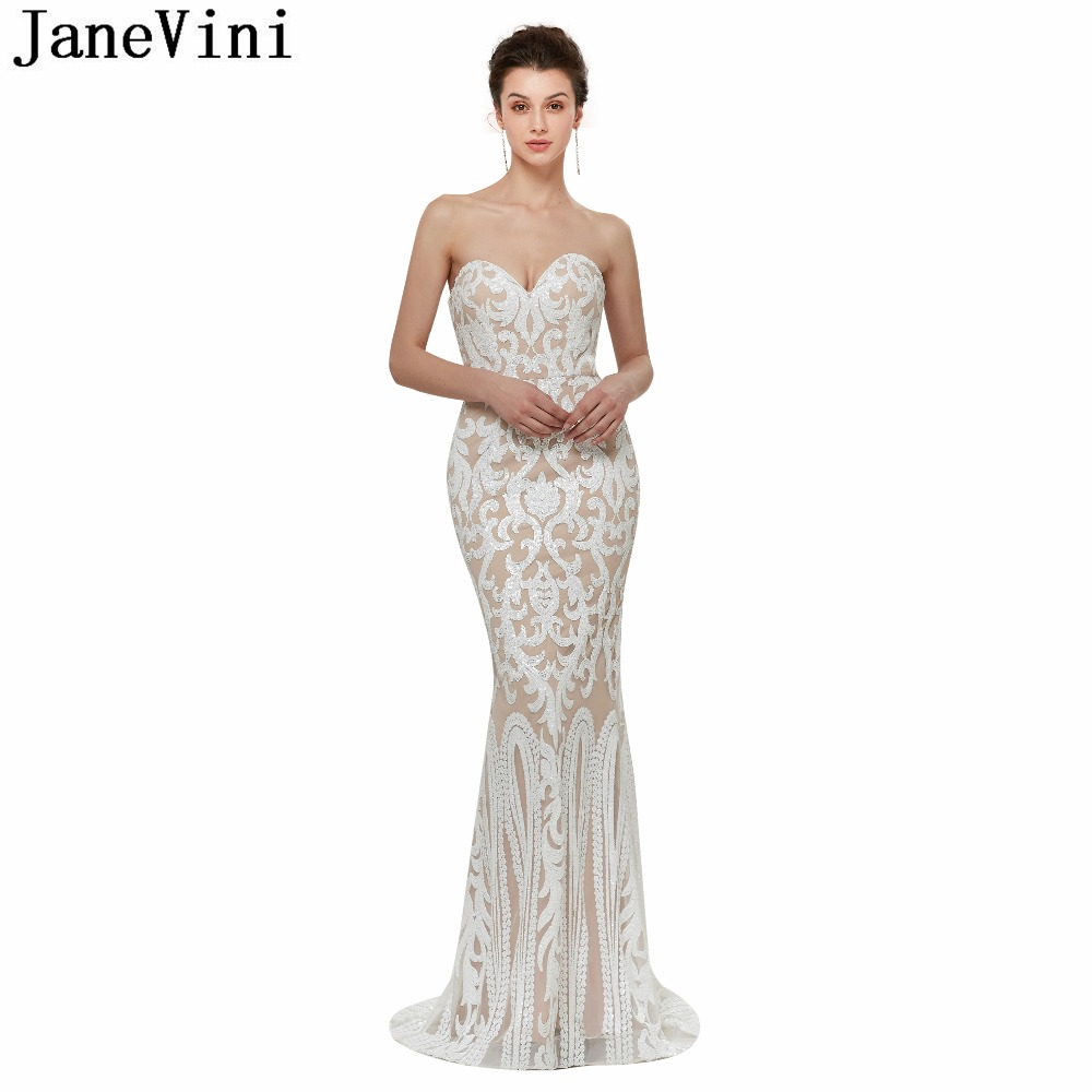 JaneVini 2018 Sparkly Sequined   Bridesmaid     Dresses   for Weddings Sweetheart Sleeveless Sweep Train Mermaid Formal Long Prom Gowns