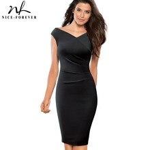 Хорошее-forever, винтажное, элегантное, одноцветное, с рюшами, плиссированное, vestidos, деловые, вечерние, бодикон, облегающее, женское платье, B440
