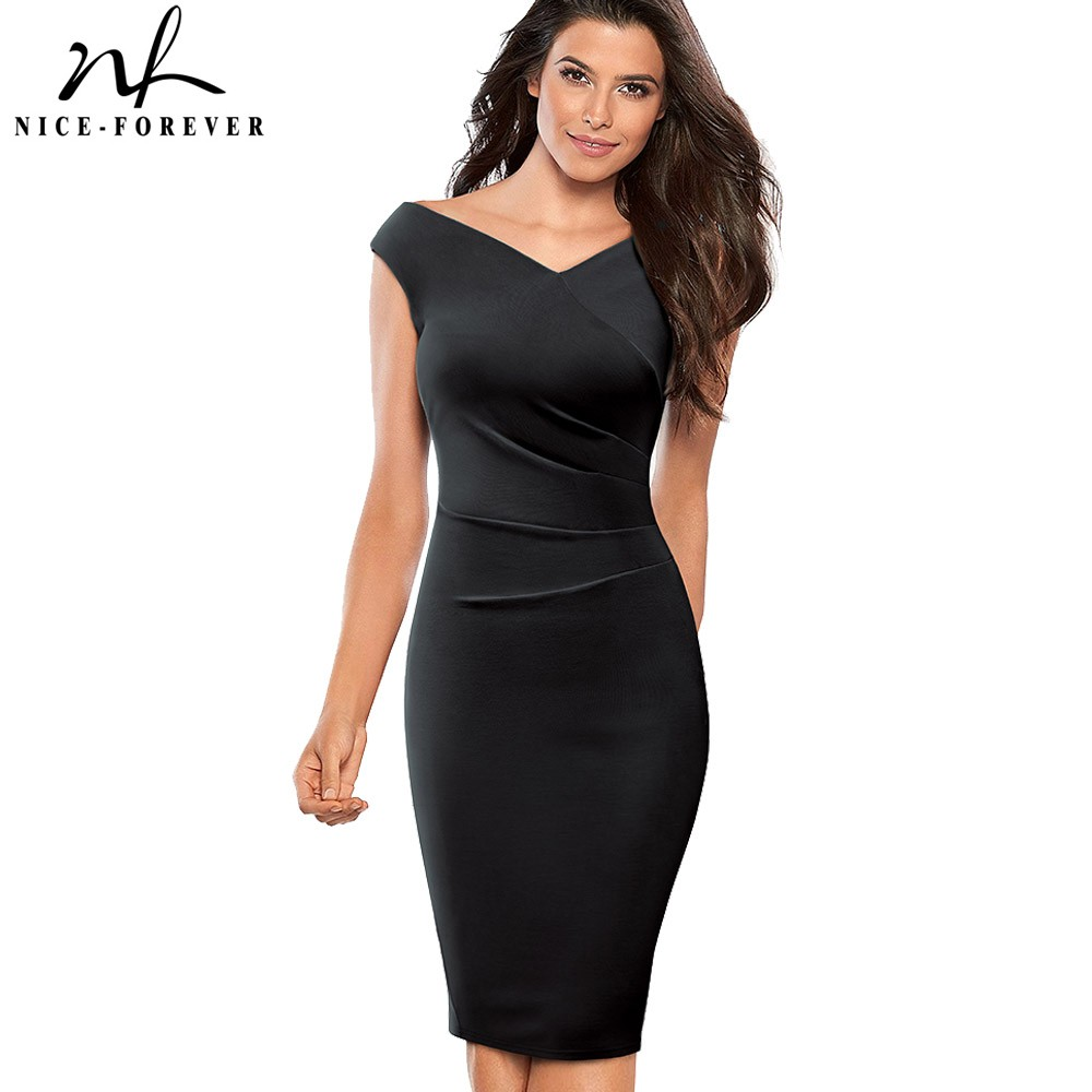Nice-forever Vintage Elegant Solid Color Elegant Ruched Pleated vestidos Business Party Bodycon Sheath Women Dress B440