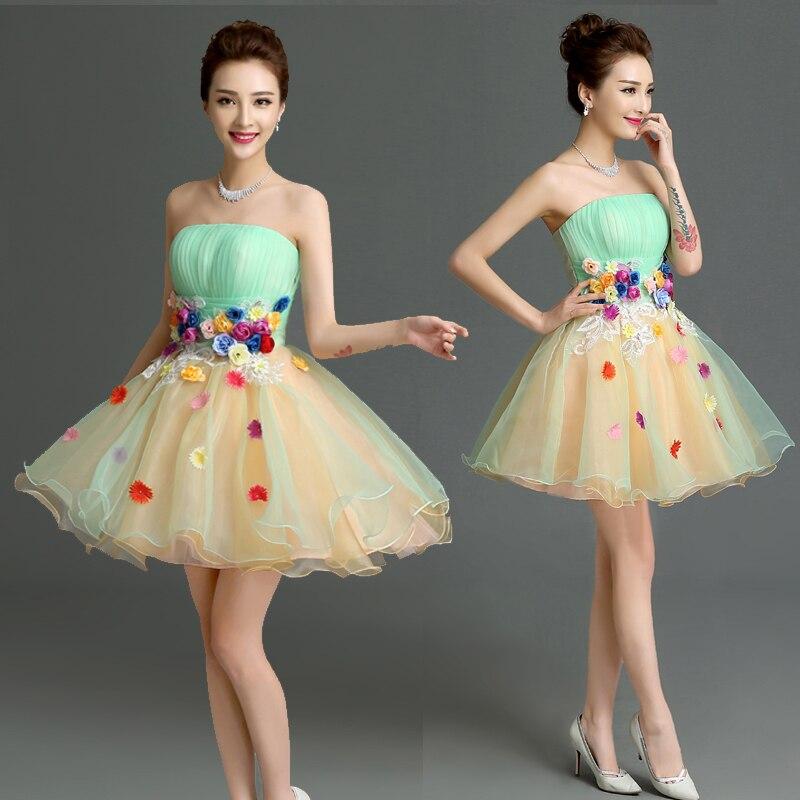 Vestidos Coctel 2016 Elegant Strapless   Cocktail     Dress   Sleeveless Appliques Party   Dress   Custom Robe de   Cocktail   vestido de festa