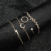 4 Pcs Womens Beach Party Charm Jewelry Open Chain Leaf Moon Geometry Bracelet Set Wonderful Gift For You And Your Friends New