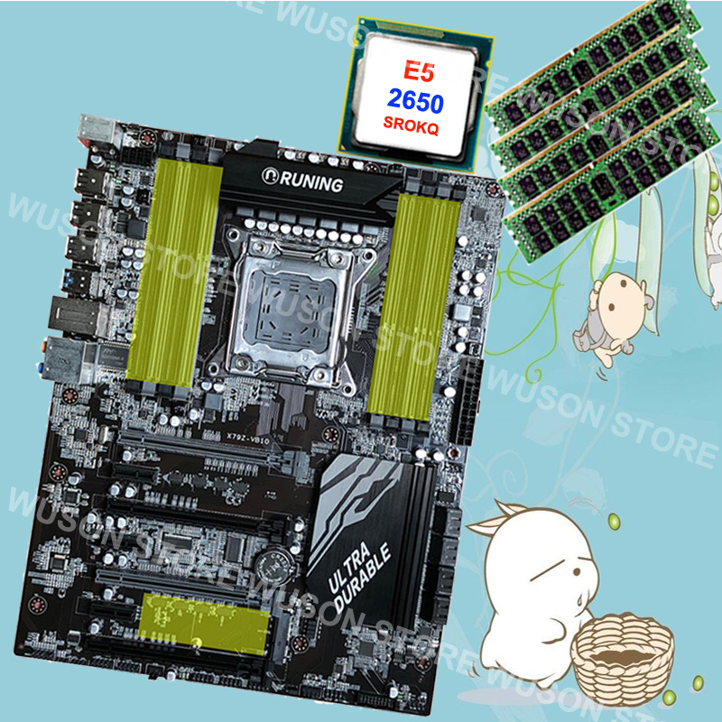 Famous brand Runing Super ATX X79 gaming PC motherboard with processor Intel Xeon E5 2650 C2 2.0GHz RAM 4*16G 1600MHz DDR3 RECCFamous brand Runing Super ATX X79 gaming PC motherboard with processor Intel Xeon E5 2650 C2 2.0GHz RAM 4*16G 1600MHz DDR3 RECC
