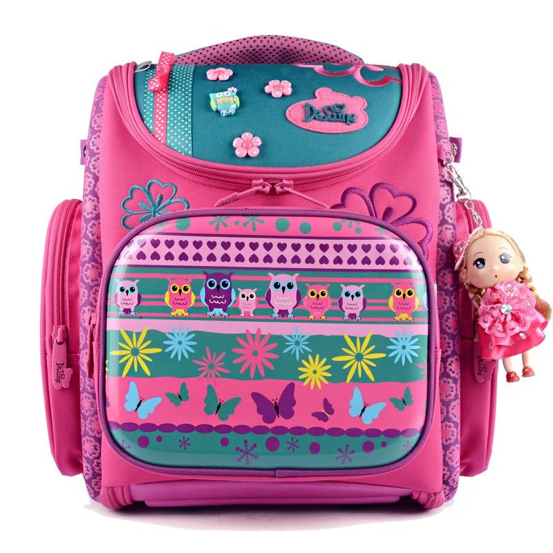 Russia Brand Delune Cartoon Dog Girls School Bags Children Backpacks Foldable Orthopedic Schoolbag Mochilas Escolares Infantis