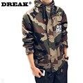 DREAK Японских мужей несвязанных с капюшоном камуфляж куртка американские военные одежда большой размер мужской одежды мужчины модели куртки молодежи