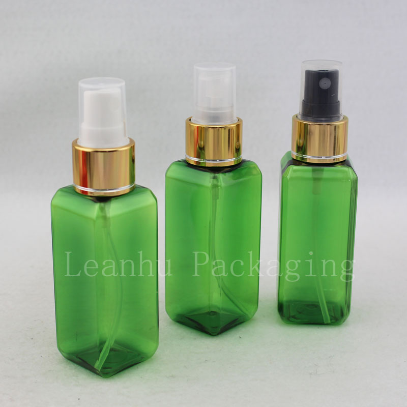 50ml green square bottle with gold sprayer (2)