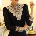 Primavera 2016 Rendas de Croché Bordado Plus Size Mulheres Camisas de Base Beading Elegante Flora Blusas Das Senhoras Do Vintage Retro OL Blusas