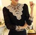 Primavera 2016 de Encaje de Ganchillo Bordado Más Mujeres del Tamaño Camisas Bajas Abalorios Elegantes Fauna Damas Blusas Vintage Retro OL Blusas