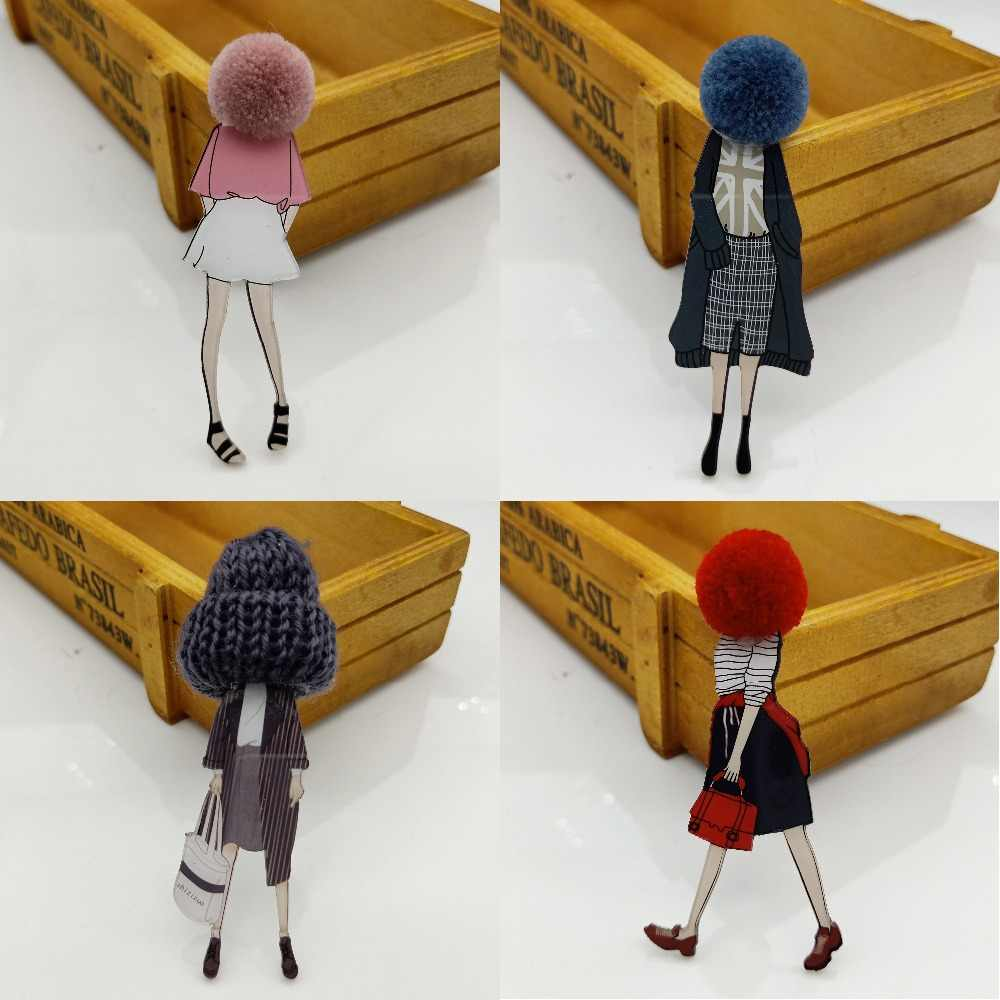 Women Cute Lovely Acrylic Anime Brooch Pins for Woman DIY Girl Fashion Cartoon Models Brooches Lapel Pins Jewelry Accessories