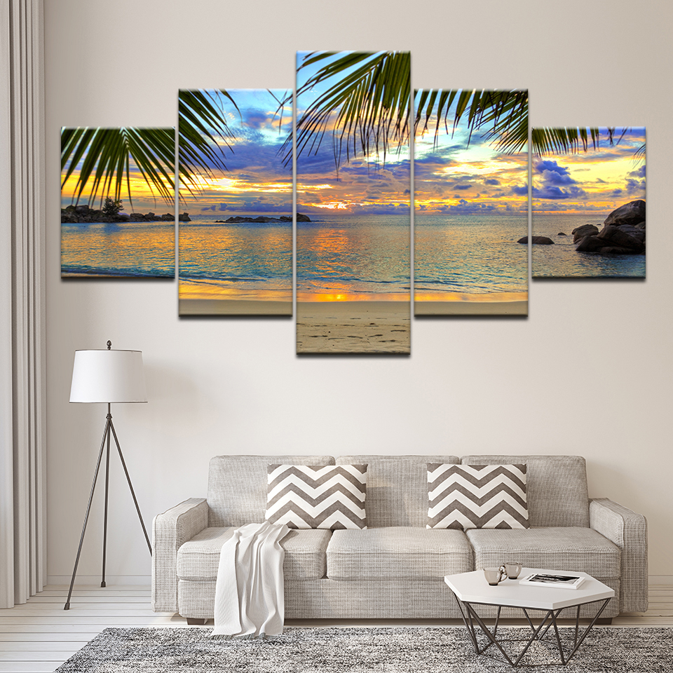 Canvas Painting Tropical Window On Beach Caribbean 5 Pieces Wall Art Painting Modular Wallpapers Poster Print Home Decor image