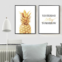 Gold Pineapple Minimalist Canvas Wall Art Time Motivational Poster Prints Nordic Picture for Living Room Home Decoration