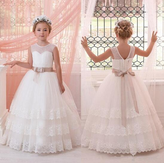 Customized Ivory White Lace Flower Girls Dresses Ball Gown Floor Length Girls First Communion Dress Princess Dress 2-16 Old