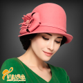Winter Fedoras Hat British Party Wool Hat  Lady Casual  Wool Cap  Women Hat Cap with beautiful flower new year gift  B-0790