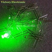 Lâmpada de luz de led 200 pçs/lote 3mm, diodo verde redondo super brilhante