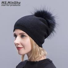 Ms MinShu kaszmirowe czapki dla kobiet pompon czapki futrzane czapki damskie ciepłe czapki z prawdziwy szop pompon futrzany czapka z pomponem dla dorosłych tanie tanio Skullies czapki Na co dzień Wełna Bawełna mieszanki Futro MS MinShu Unisex 20-01005 Stałe