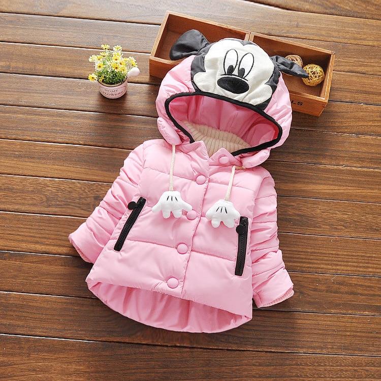Yüksek kalite kış çocuk ceket kız kalınlaşmak karikatür palmiye pamuk çocuk giyim kabanlar kız hoodies