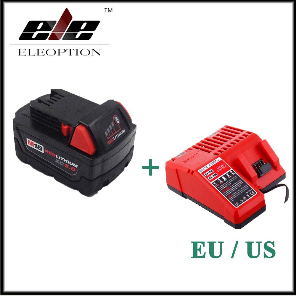 Eleoption 5000mAh 18V Li-Ion Replacement Power Tool Battery for Milwaukee M18 XC 48-11-1815 M18B2 M18B4 M18BX M18BX With Charger peppa pig пакет подарочный пеппа и ёлка 35 см х 25 см х 9 см